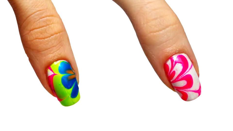 Nageldesign Zum Selber Machen Mit Nagellack  Nageldesign zum selber machen Schneller Batik Look mit