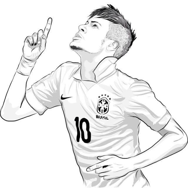 Neymar Ausmalbilder  Neymar top soccer player coloring sheet