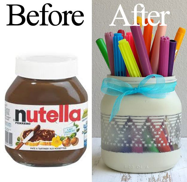 Nutella Glas Diy  An old nutella jar recycled into a pencil holder using a