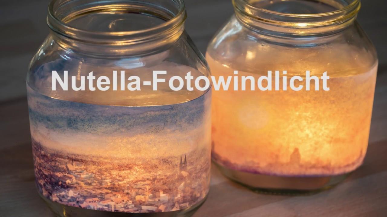 Nutella Glas Diy  Windlicht aus Nutella Glas