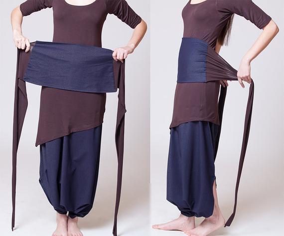 Obi Diy  Dual color Obi belt Blue jeans Dark brown MB901