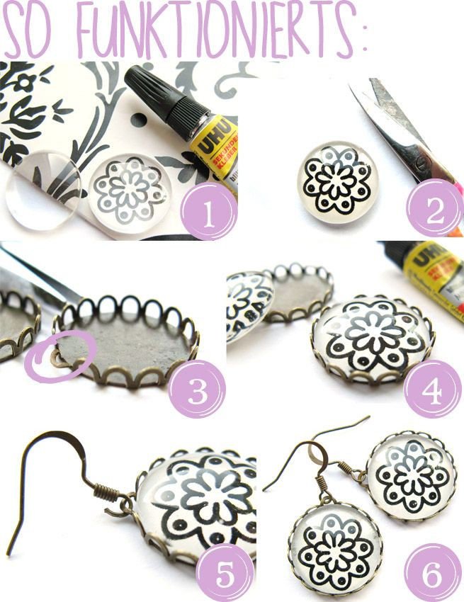 Ohrringe Diy  DIY Ohrringe selber machen mit Cabachons Anleitung