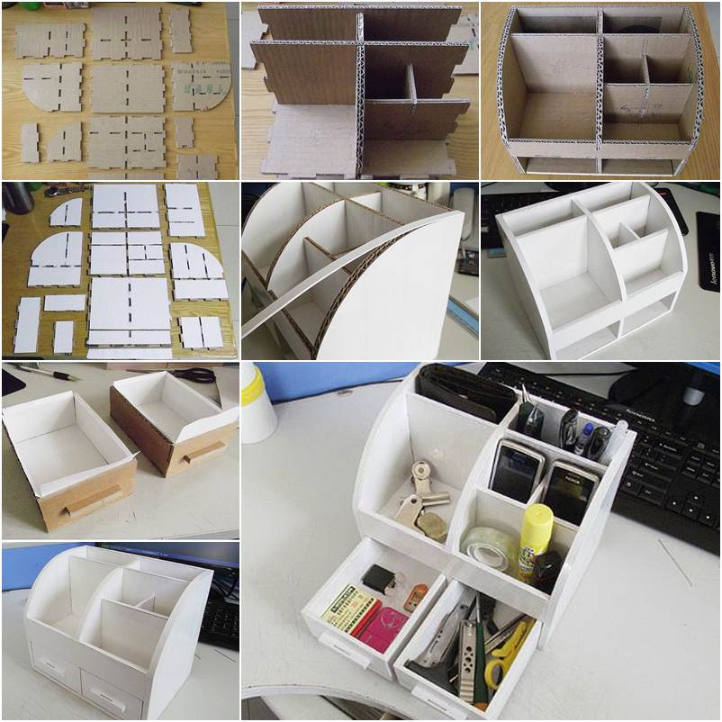 Organizer Diy  DIY Cardboard Desktop Organizer with Drawers