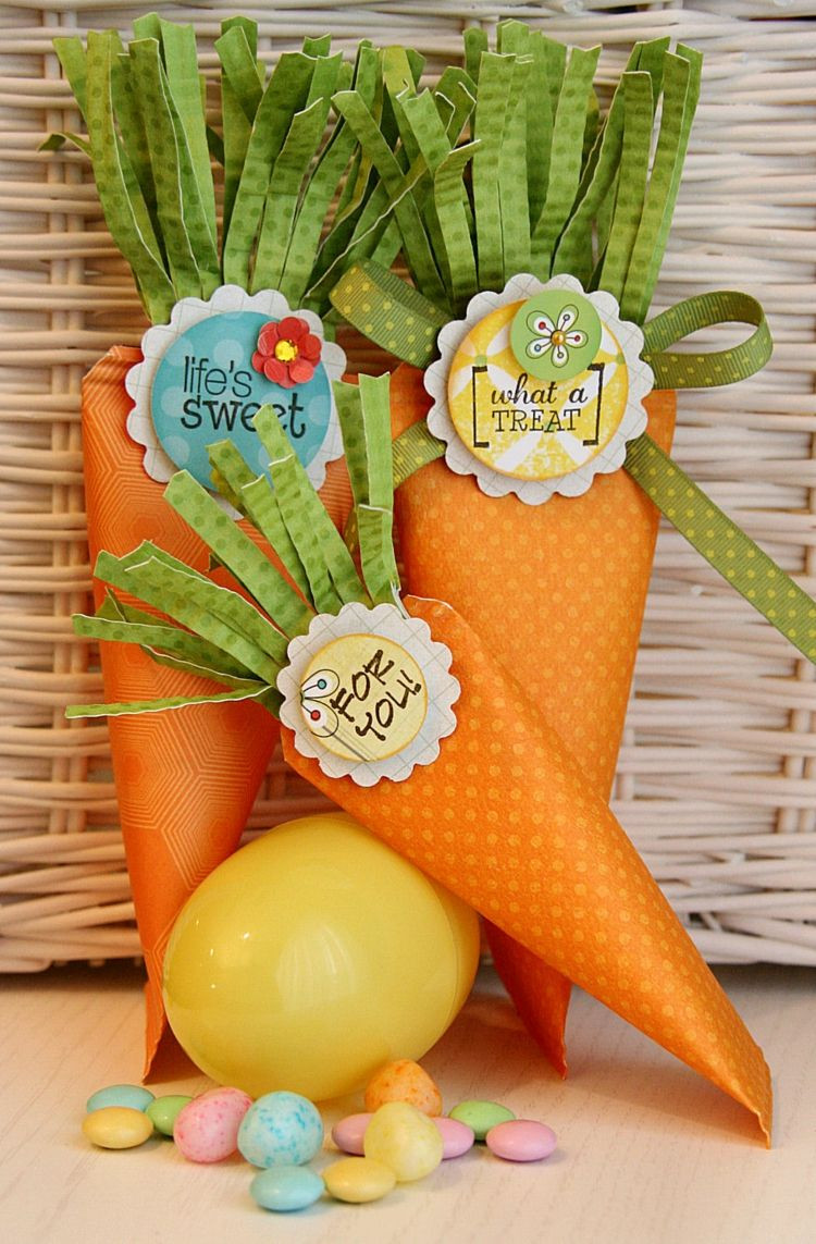 Oster Geschenke  Ostergeschenke basteln Zuckertüte Papier Kinder Mohrrüben