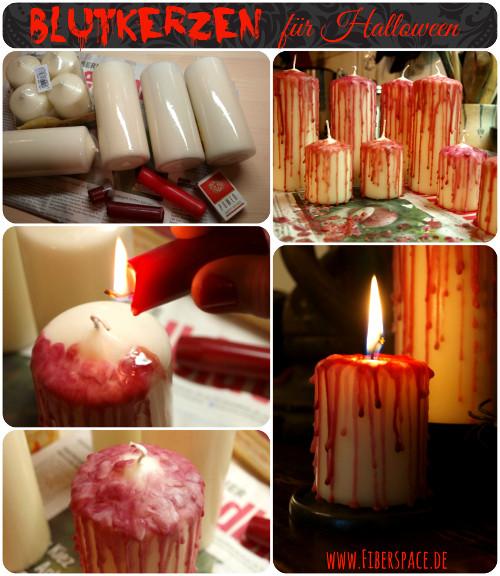 Party Deko Diy DIY Blutige Kerzen als Halloween Tischdeko Bauanleitung