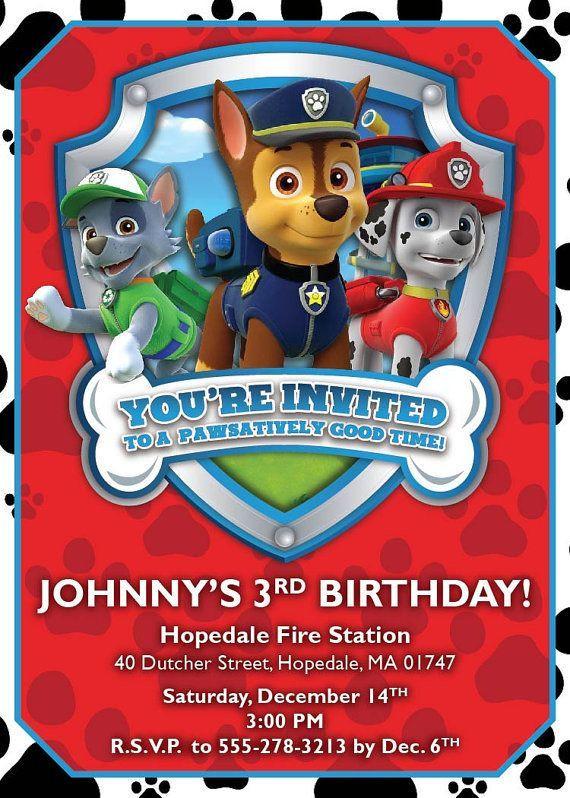 Paw Patrol Geburtstagsparty  Paw Patrol Birthday Invitations