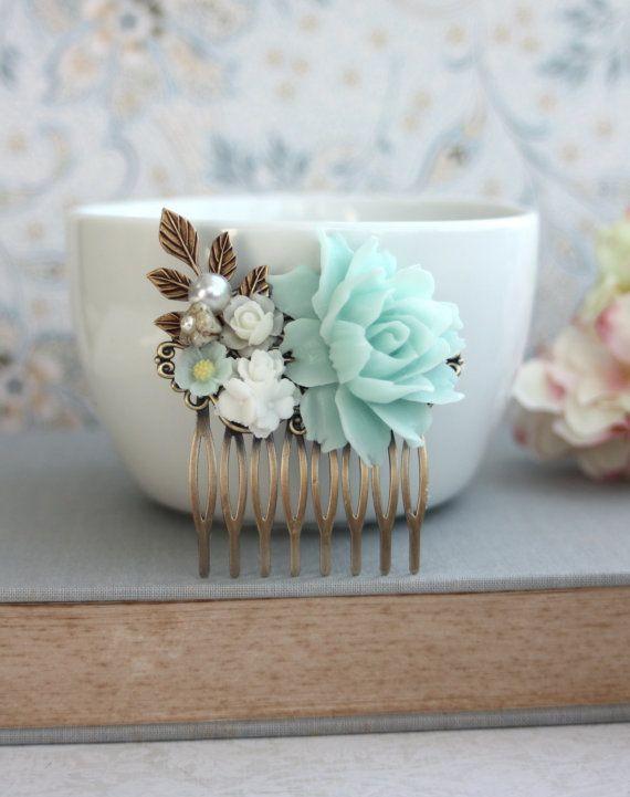 Pearl Geschenke  Soft mintgrün weiß Ivory Pearl Messing Blatt Blume