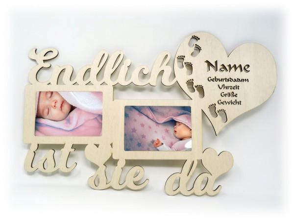 Personalisierte Geschenke Baby  Endlich ist sie da Baby Holz Bilderrahmen mit Namen und