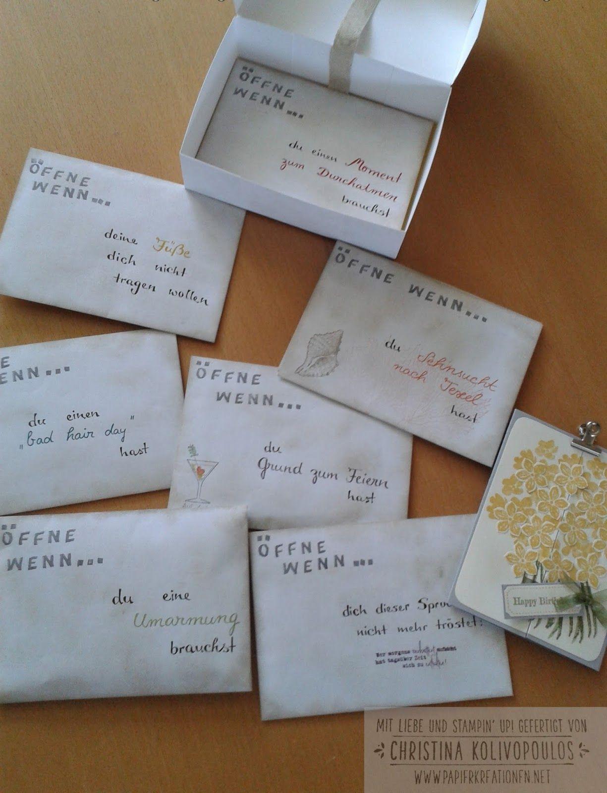 Persönliches Geschenk Für Freund  Stampin Up Stampin up öffne wenn Briefe Open When