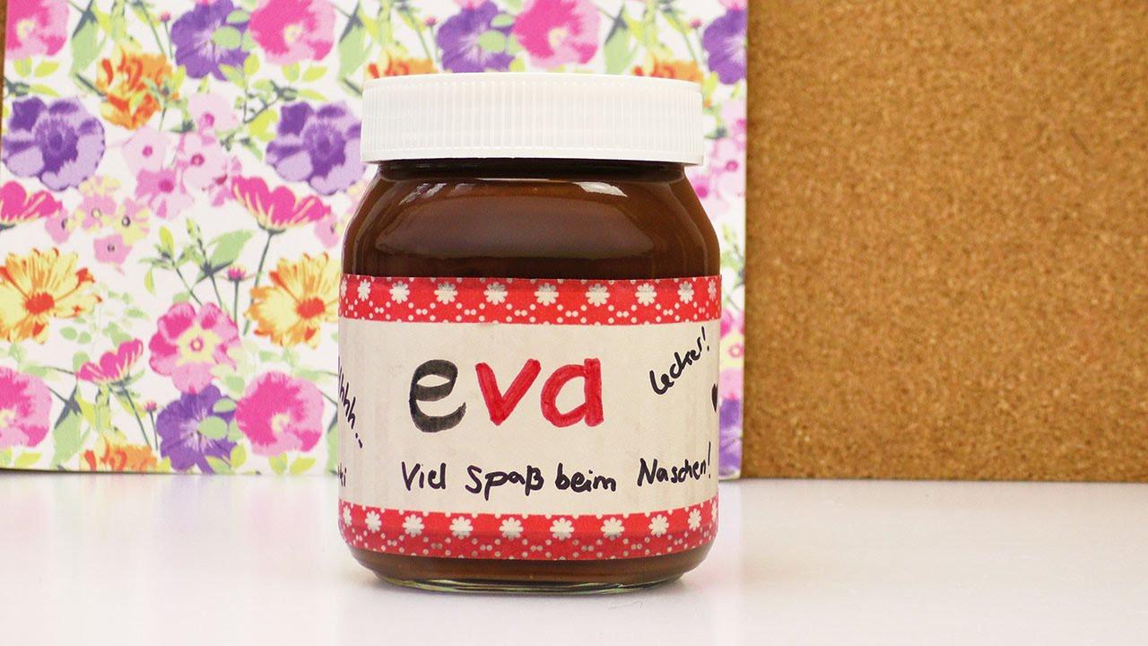 Persönliches Geschenk Für Freund Selbst Gemacht  Persönliches Nutella Glas als Geschenk gestalten
