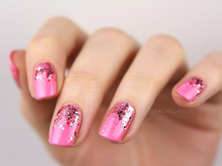 Pink Nageldesign  nails reloaded nailsreloaded challenge glitter