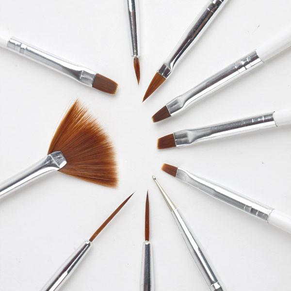 Pinsel Für Nageldesign  10x Nail Art UV Gel Pinsel Design Pen Pinsel Set