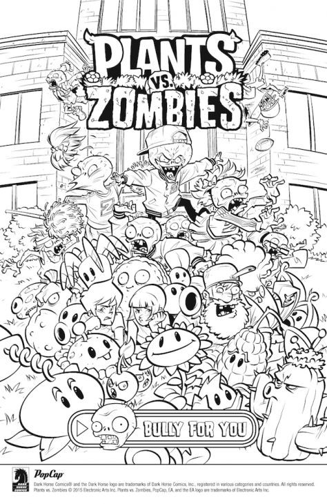 Plants Vs Zombies Ausmalbilder  Free line Plants Vs Zombies Coloring Page