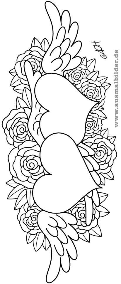 Rosen Ausmalbilder  ausmalbilder rosen mit herz malen