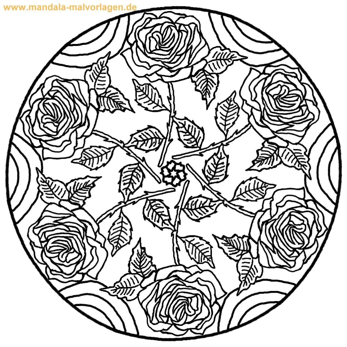 Rosen Ausmalbilder  Ausmalbilder Blumen Mandalas Rosen Mandala