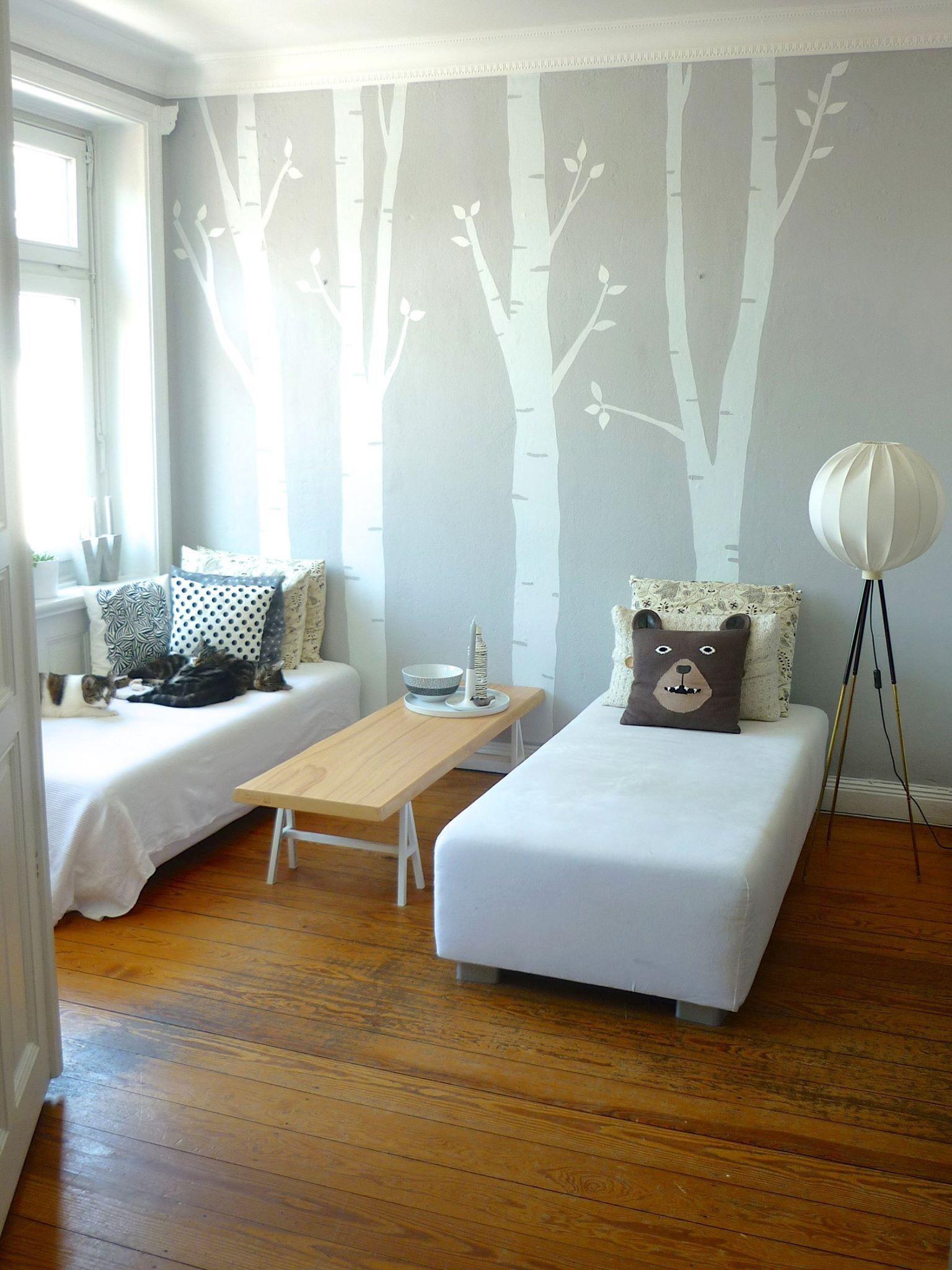 Schlafzimmer Diy  Schlafzimmer Fototapete Bäume Kinderzimmer Betten