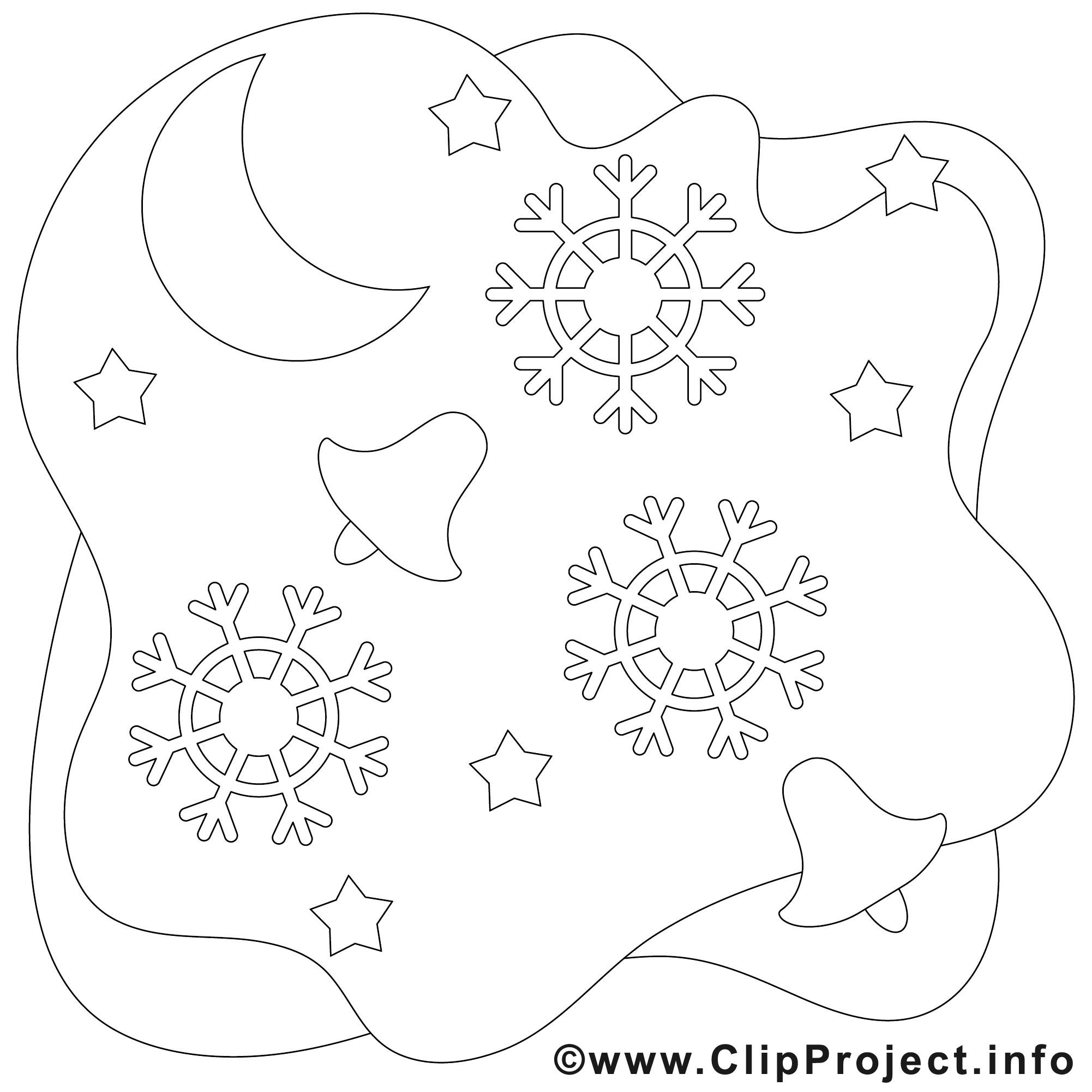 Schneeflocken Malvorlagen  Weihnachtsglocken und Schneeflocken Bild Malvorlage