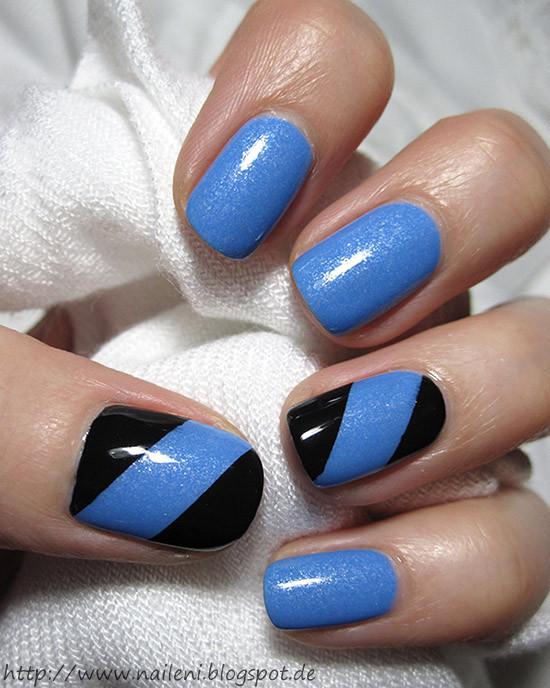 Schnelle Nageldesigns  nails reloaded Nageldesign Blau Schwarz aped