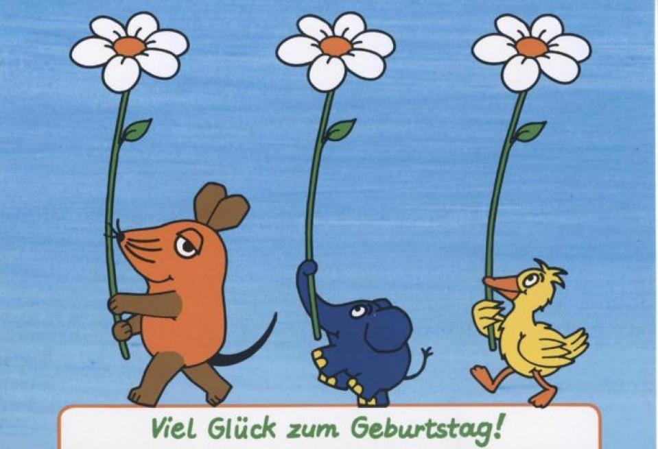 Schöne Geburtstagskarten  Schöne Postkarte Sendung mit der Maus Viel Glück zum