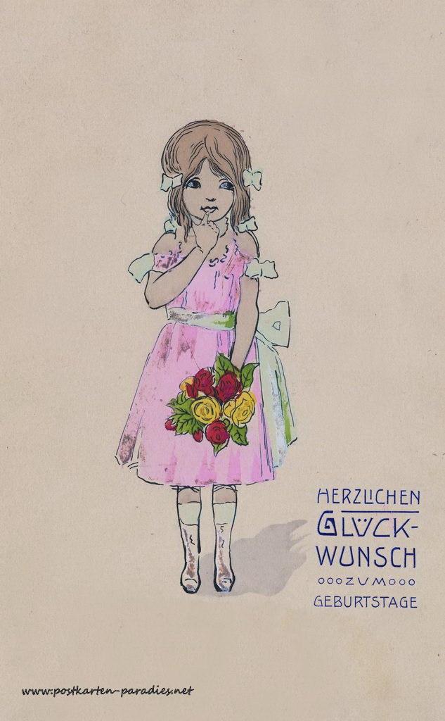 Schöne Geburtstagskarten  Schöne alte Geburtstagskarten Alte Postkarten