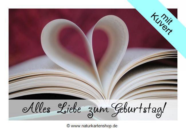 "Schöne Geburtstagskarten  Schöne Geburtstagskarten ""Buchherz"" KLAPPKARTE & KUVERT"