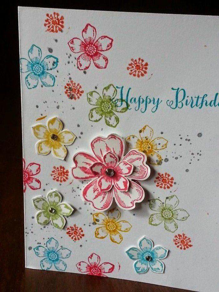 Schöne Geburtstagskarten  Schöne Geburtstagskarten selber machen kunterbunten blumen