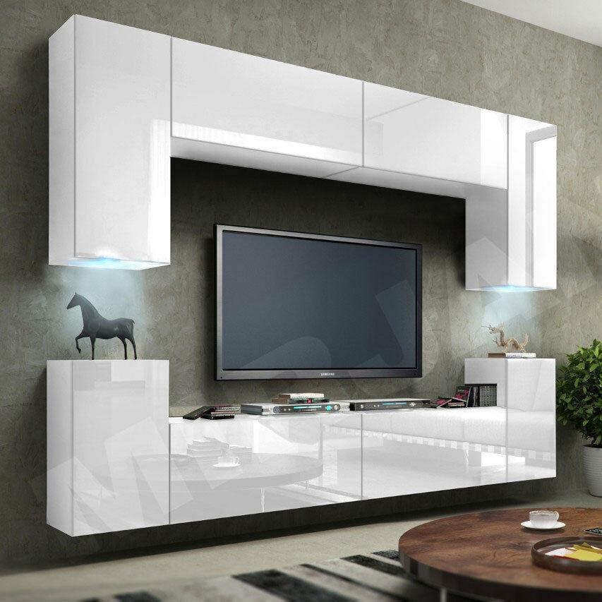 Schrankwand Wohnzimmer  Wohnwand Orion I Hängewand Anbauwand Schwarz & Weiß
