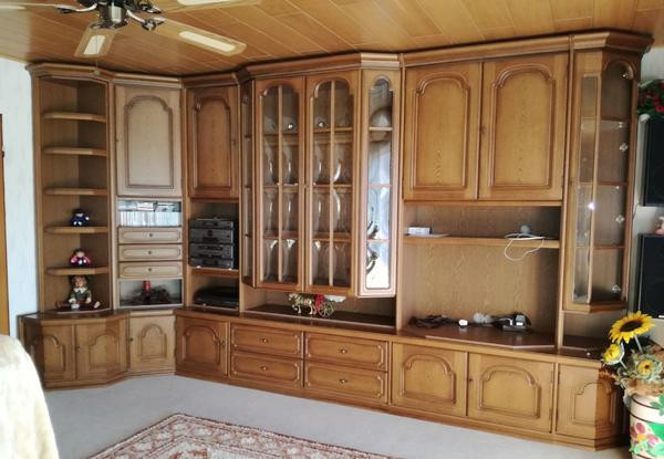 Schrankwand Wohnzimmer  Große Wohnzimmer Schrankwand mit Eckteil in Eiche rustikal