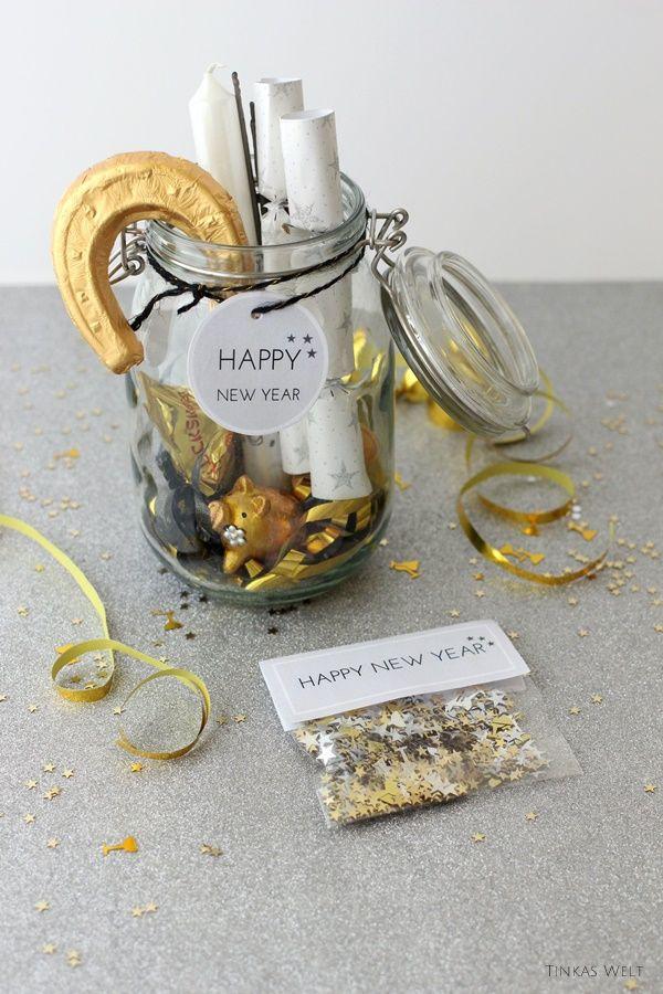 Silvester Geschenke  Silvester im Glas ein kleines Mitbringsel