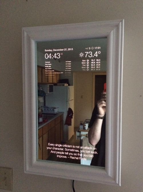 Smart Mirror Diy  Magic mirror made using Rasberry Pi via r geek Geek