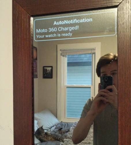 Smart Mirror Diy  DIY Smart Mirror superimposes Android Wear notifications