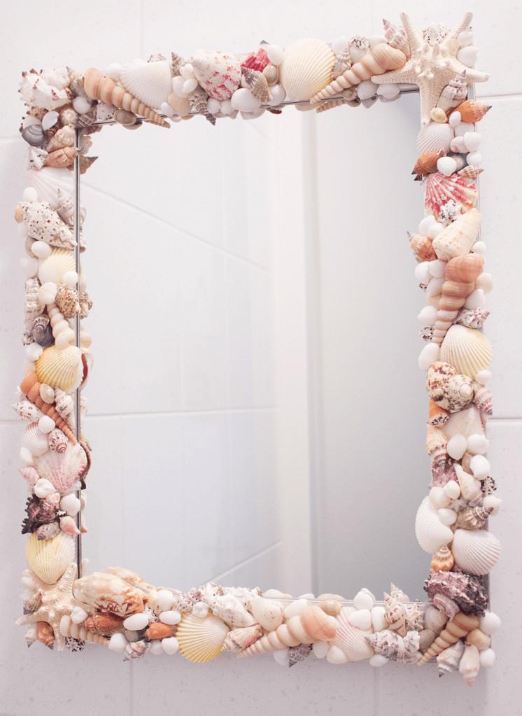 Spiegel Diy  DIY Spiegel met schelpen