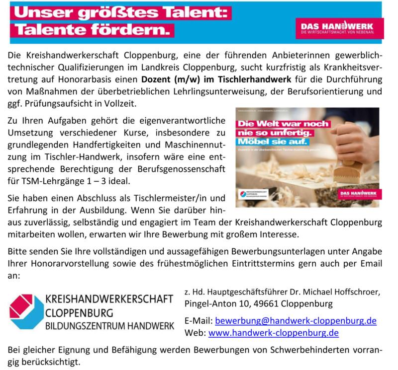 Stellenangebote Handwerk  Stellenangebote Kreishandwerkerschaft Cloppenburg