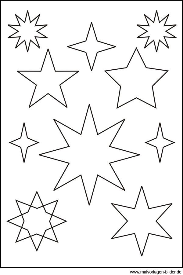 Sterne Ausmalbilder  Sternenvorlage zum Ausdrucken und Ausschneiden