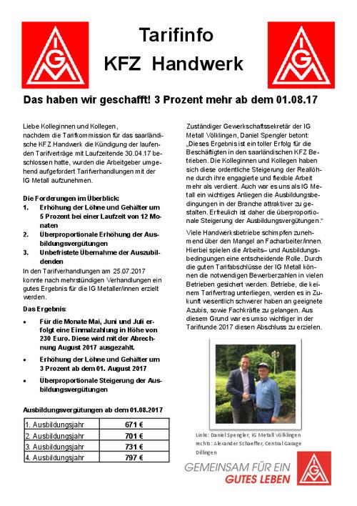 Tarifvertrag Bürokauffrau Handwerk  Neuer Tarifvertrag im saarländischen KFZ Handwerk IG