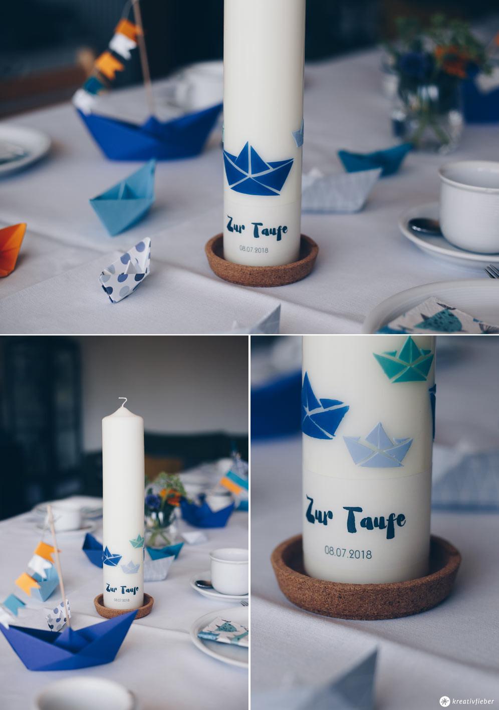 Taufkerze Diy  DIY Taufkerze selbermachen mit Origamibooten und Text