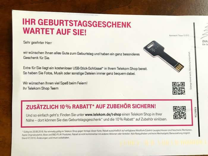 Telekom Geburtstagsgeschenk  Deutsche Telekom AG Telekommunikation 27 Bewertungen