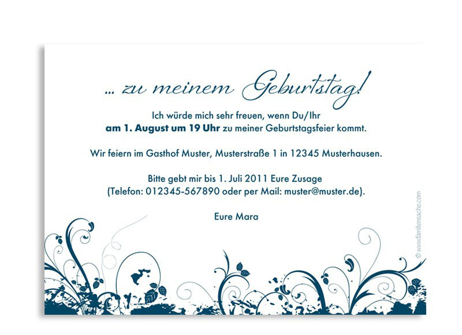 Texte Für Geburtstagskarten  Geburtstag Einladung Text