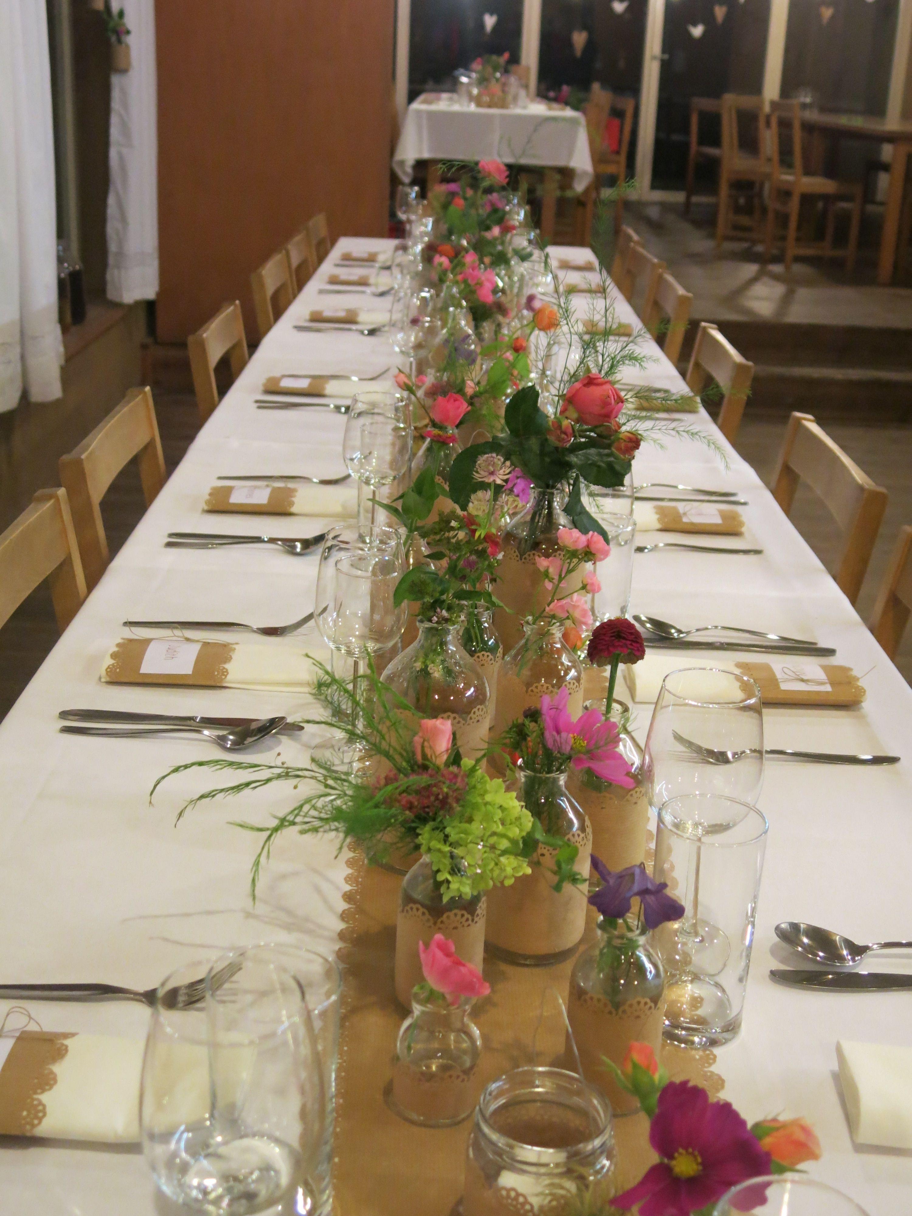 Tischdeko Geburtstag Blumen  tischdeko DIY kraftpapier wiesenblumen