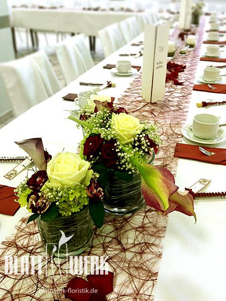 Tischdeko Geburtstag Blumen  Blattwerk Floristik Blumen und Dekoration Berlingerode