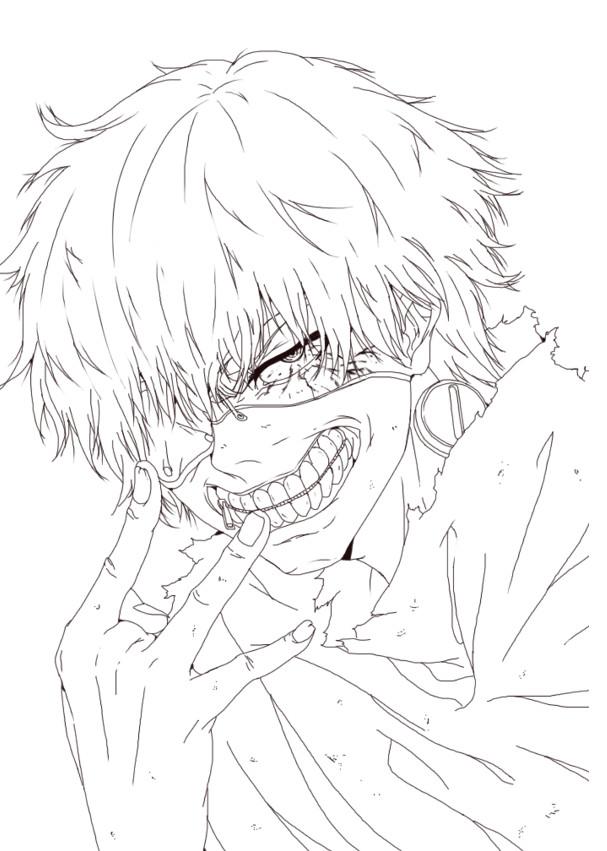 Tokyo Ghoul Ausmalbilder  Desenho de Ken Kaneki de Tokyo Ghoul para colorir