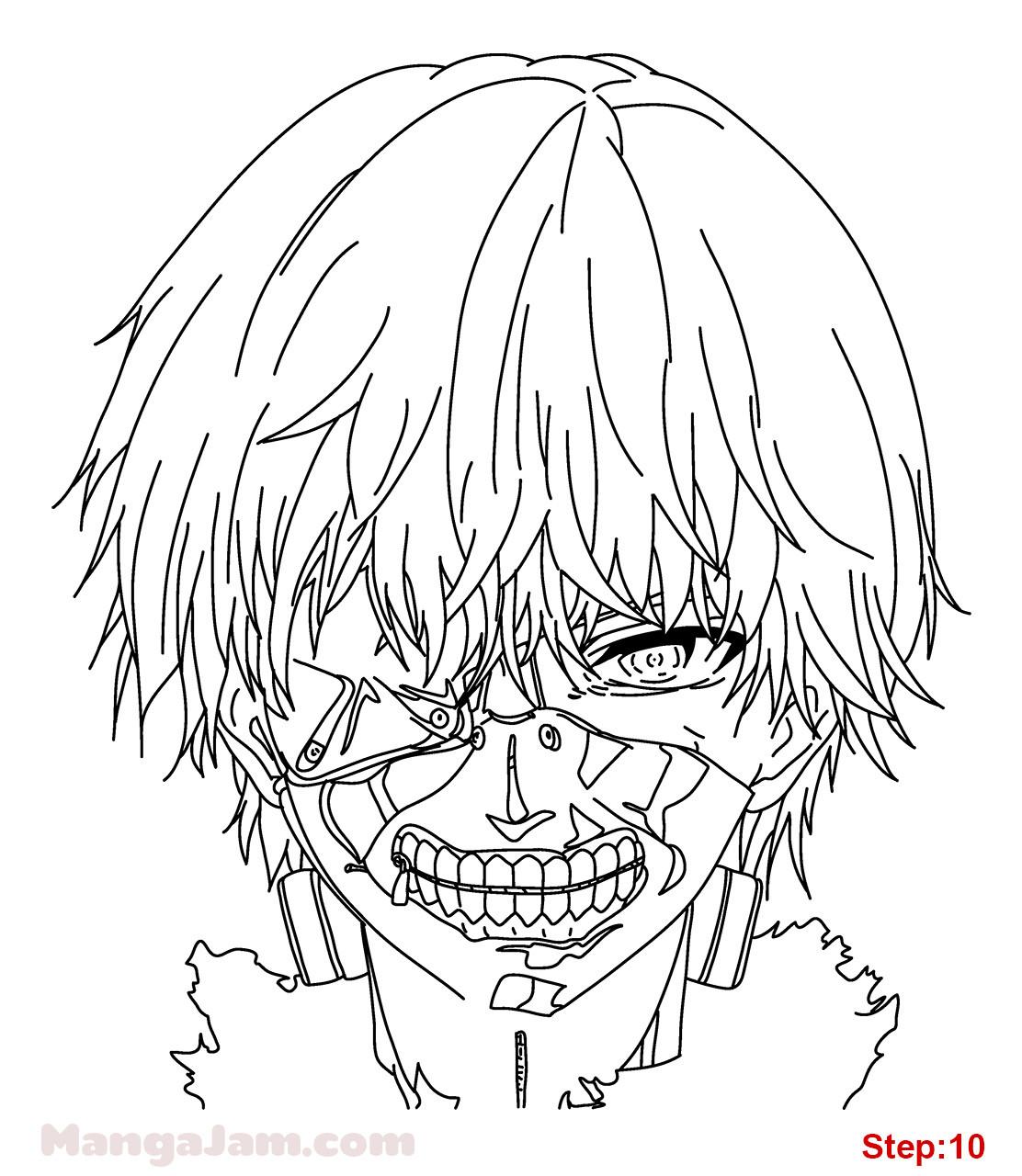 Tokyo Ghoul Ausmalbilder  How to Draw Kaneki Ken from Tokyo Ghoul Mangajam