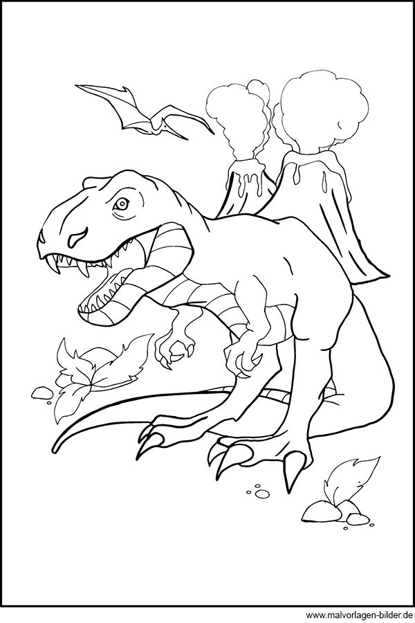 Tyrannosaurus Rex Ausmalbilder  T Rex Ausmalbild Kostenlos zum Ausdrucken