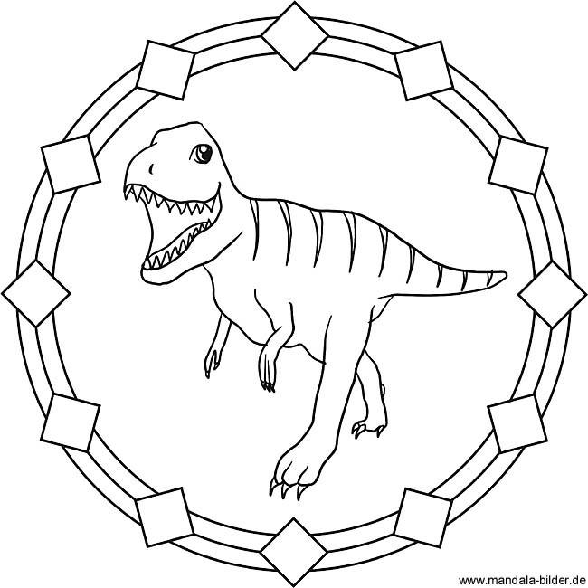 Tyrannosaurus Rex Ausmalbilder  Tyrannosaurus Rex Dinosaurier Mandala Ausmalbild