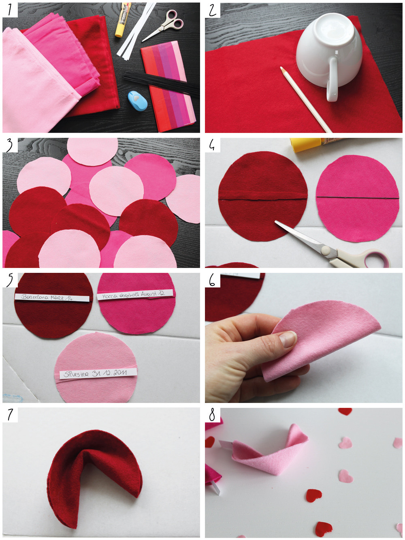Valentinstag Geschenk Diy  Valentinstag DIY Geschenk Glückskekse aus Filz