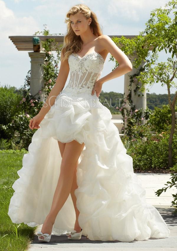 Vokuhila Hochzeitskleid  A linie Hochzeitskleid vorne kurz hinten lang Mehrlagige