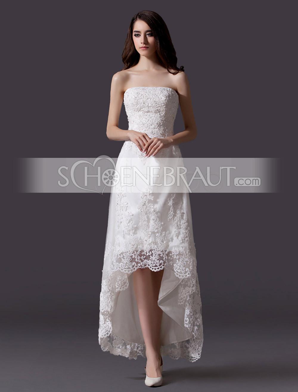 Vokuhila Hochzeitskleid  Standesamtkleider Hochzeitskleider standesamt spitze