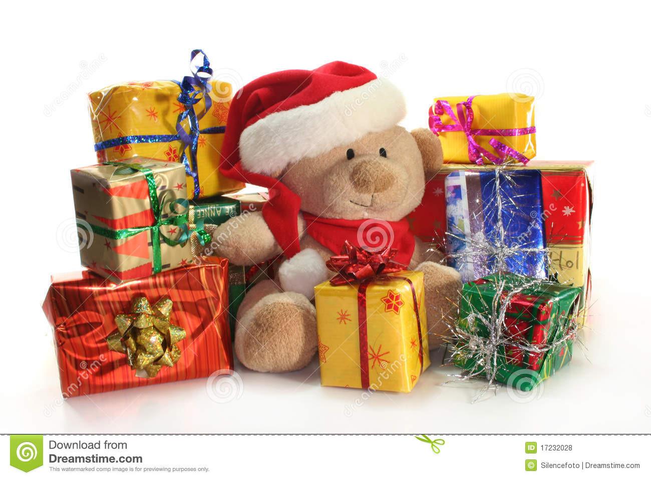 Weihnachts Geschenke  Weihnachtsgeschenke stockfoto Bild von teddy farbband