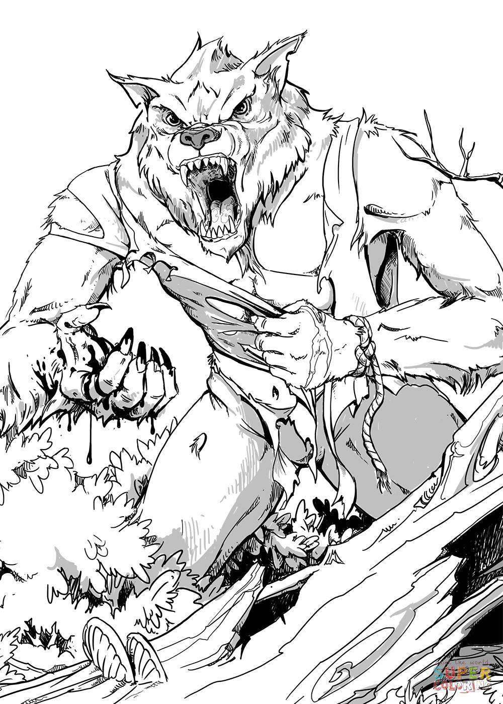 Werwolf Ausmalbilder  DND Lycanthrope coloring page