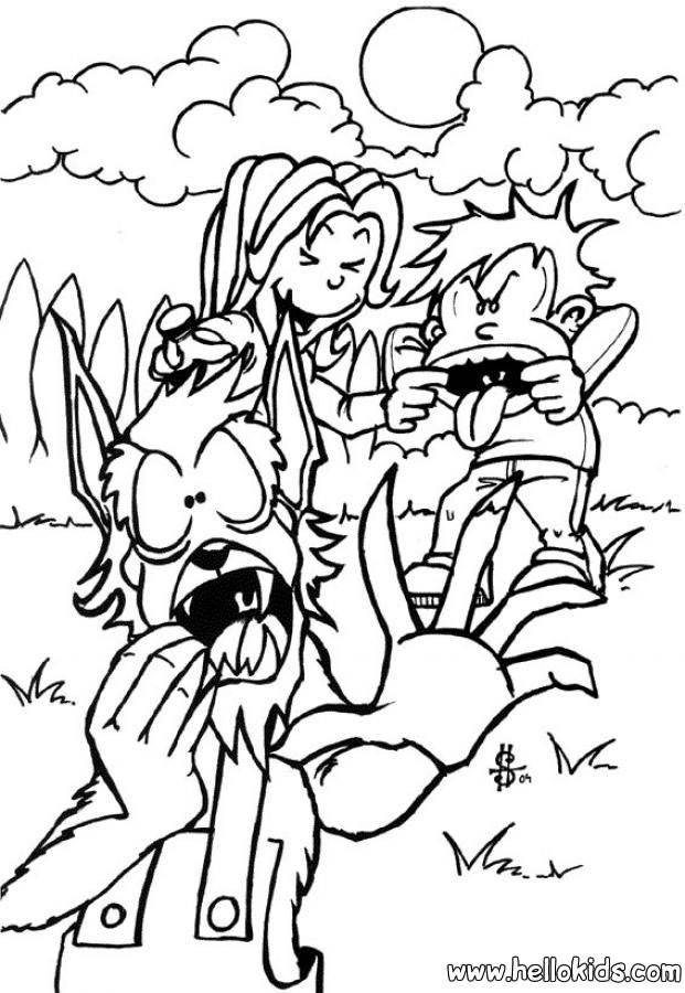 Werwolf Ausmalbilder  Halloween werwolf und kinder zum ausmalen zum ausmalen